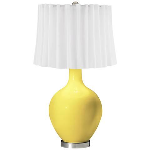 Lemon Twist White Curtain Ovo Table Lamp