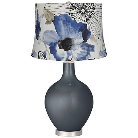 Blue Watercolor Flowers Blue Flowers Ovo Table Lamp