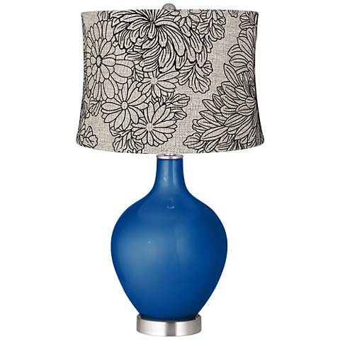 Ocean Metallic Velveteen Chrysanthemum Shade Ovo Table Lamp