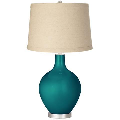 Magic Blue Metallic Burlap Drum Shade Ovo Table Lamp