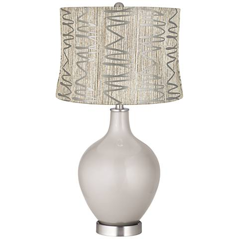 Silver Lining Metallic Abstract Squiggles Shade Ovo Lamp