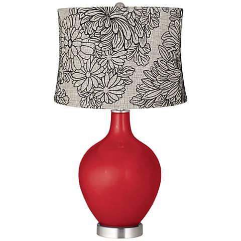 Sangria Metallic Velveteen Chrysanthemum Ovo Table Lamp