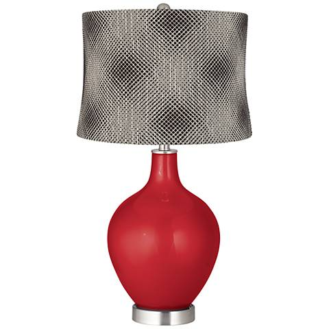 Sangria Metallic Black Pixels Shade Ovo Table Lamp