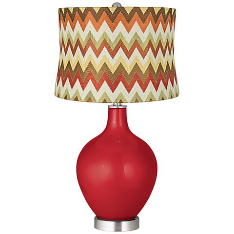 Sangria Metallic Red and Brown Chevron Shade Ovo Table Lamp
