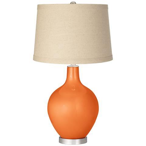Burnt Orange Metallic Burlap Drum Shade Ovo Table Lamp