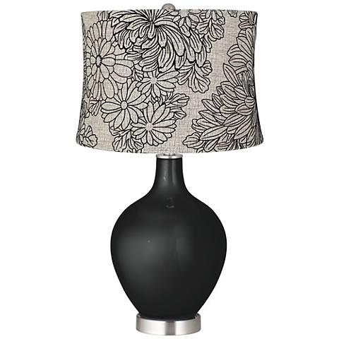 Caviar Metallic Velveteen Chrysanthemum Ovo Table Lamp