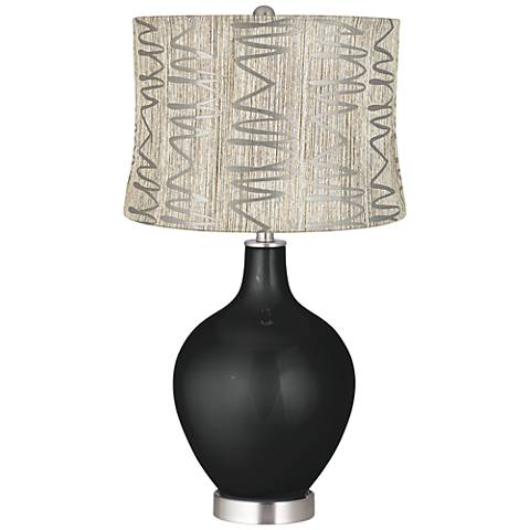 Caviar Metallic Abstract Squiggles Shade Ovo Table Lamp
