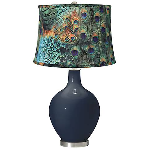 Naval Peacock Print Shade Ovo Table Lamp