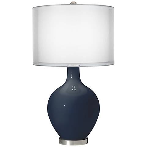 Naval Double Sheer Silver Shade Ovo Table Lamp