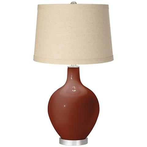 Fired Brick Burlap Drum Shade Ovo Table Lamp