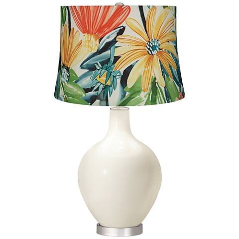 West Highland White Multi-Color Daisies Ovo Table Lamp