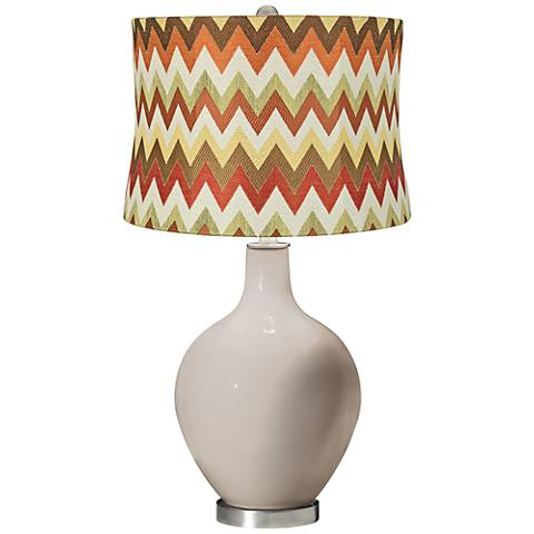 Pediment Red and Brown Chevron Shade Ovo Table Lamp