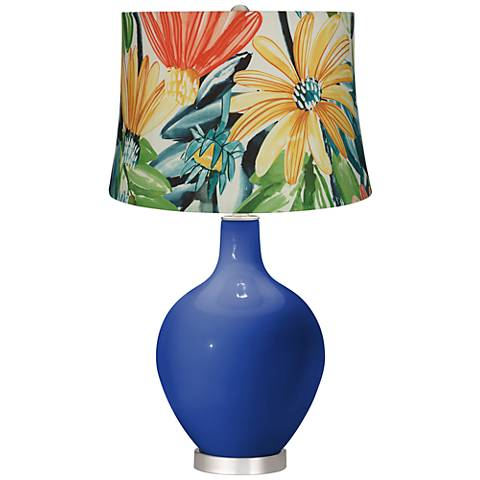 Dazzling Blue Multi-Color Daisies Ovo Table Lamp