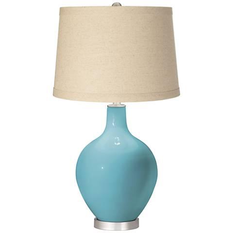 Nautilus Burlap Drum Shade Ovo Table Lamp