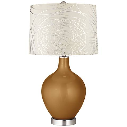 Light Bronze Metallic Abstract Silver Circles Shade Ovo Lamp