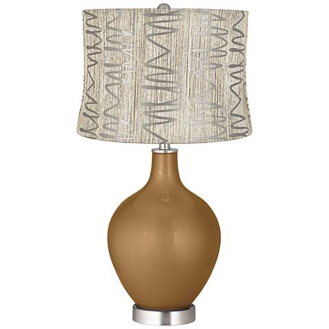 Light Bronze Metallic Abstract Squiggles Shade Ovo Lamp