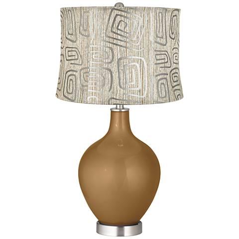 Light Bronze Metallic Spiral Squiggles Shade Ovo Table Lamp