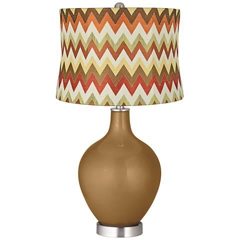 Light Bronze Metallic Red and Brown Chevron Shade Ovo Lamp