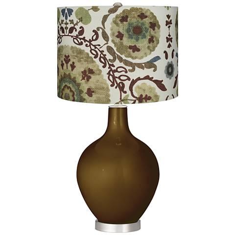 Green Floral Paisley Green Floral Paisley Ovo Table Lamp