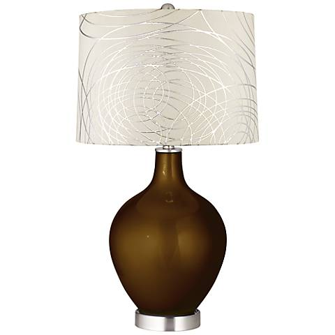 Bronze Metallic Abstract Silver Circles Shade Ovo Table Lamp