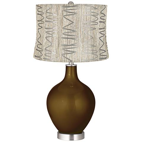 Bronze Metallic Abstract Squiggles Shade Ovo Table Lamp