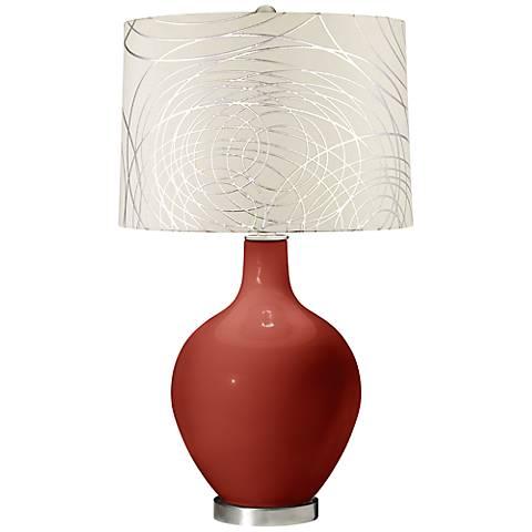 Madeira Abstract Silver Circles Shade Ovo Table Lamp