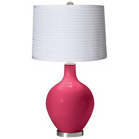 Eros Pink White Pleated Shade Ovo Table Lamp