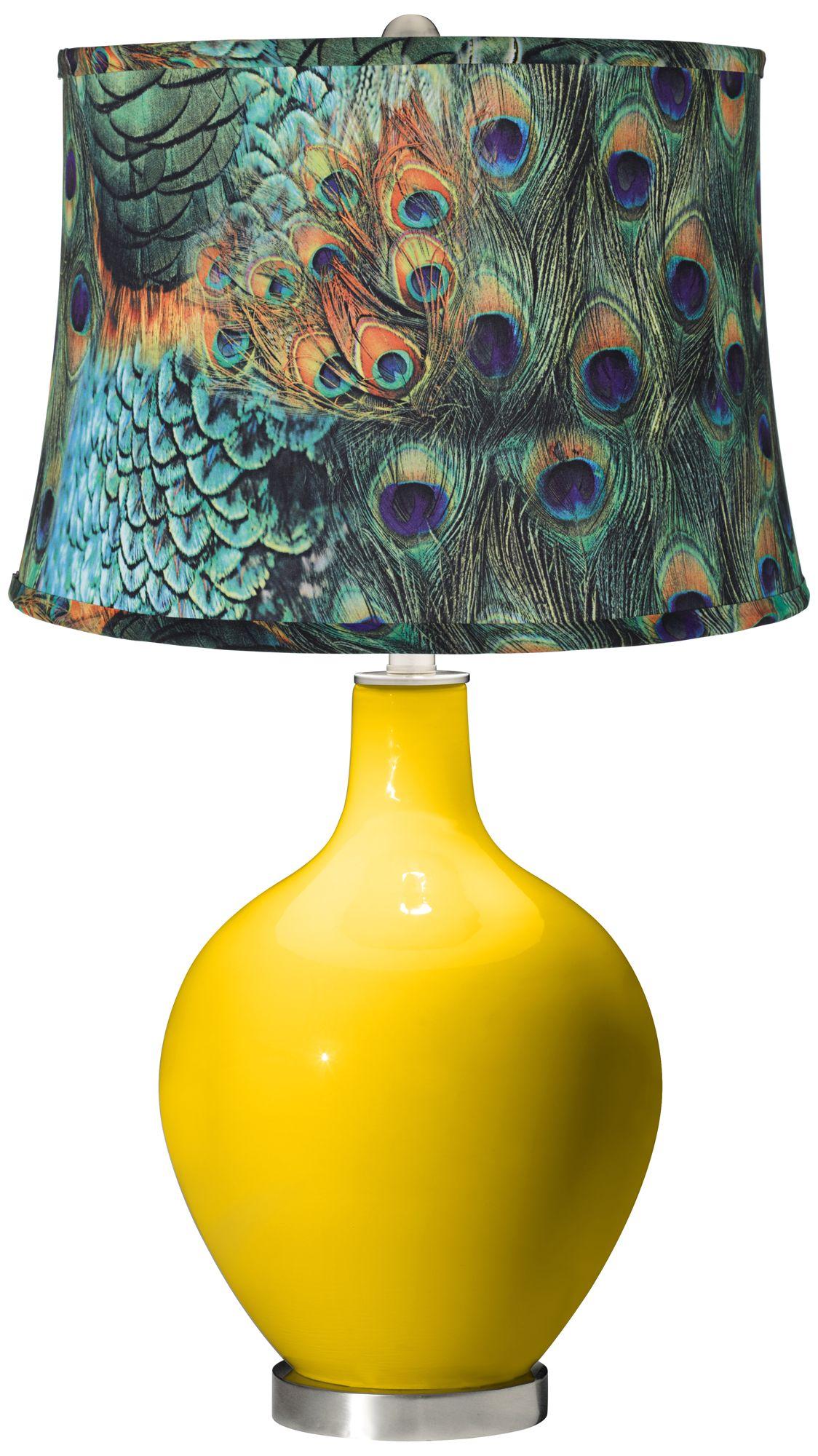 Citrus Peacock Print Shade Ovo Table Lamp