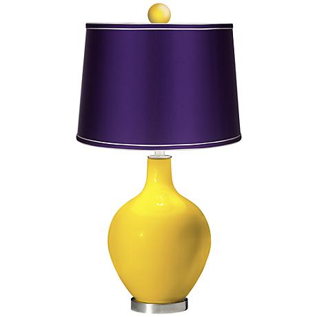 Citrus - Satin Purple Ovo Table Lamp with Color Finial