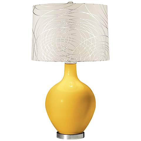Goldenrod Abstract Silver Circles Shade Ovo Table Lamp