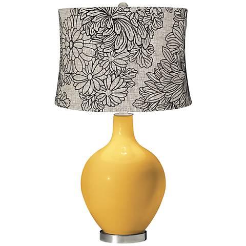 Goldenrod Velveteen Chrysanthemum Shade Ovo Table Lamp