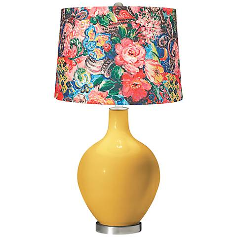 Goldenrod Floral Digital Print Shade Ovo Table Lamp