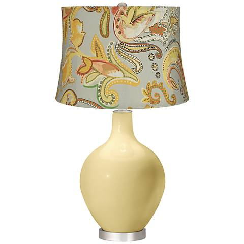Butter Up Yellow Paisley Ovo Table Lamp