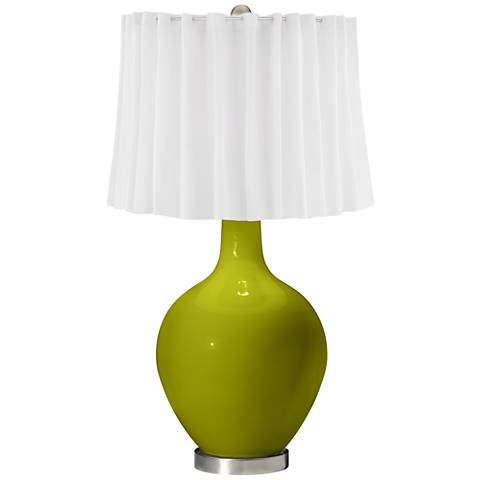 Olive Green White Curtain Ovo Table Lamp
