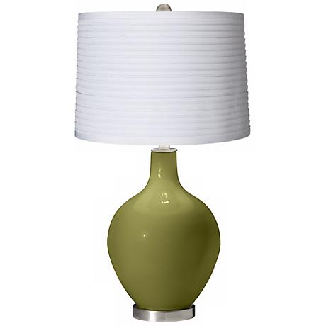 Rural Green White Pleated Shade Ovo Table Lamp