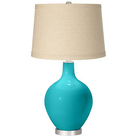 Surfer Blue Oatmeal Linen Shade Ovo Table Lamp