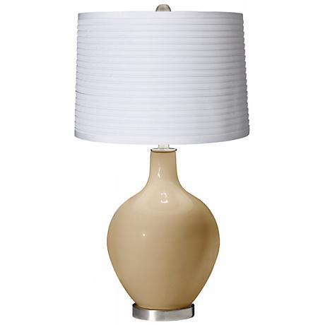 Colonial Tan White Pleated Shade Ovo Table Lamp