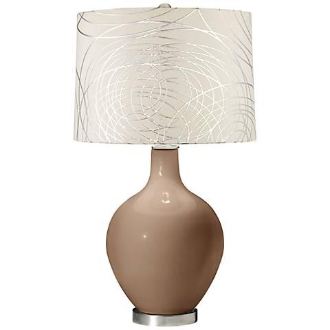 Mocha Abstract Silver Circles Shade Ovo Table Lamp