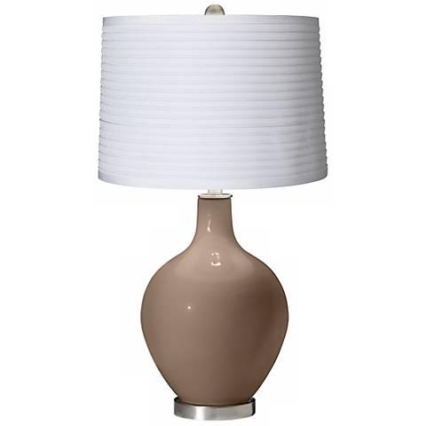Mocha White Pleated Shade Ovo Table Lamp