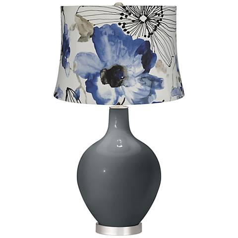 Black of Night Blue Watercolor Flowers Ovo Table Lamp
