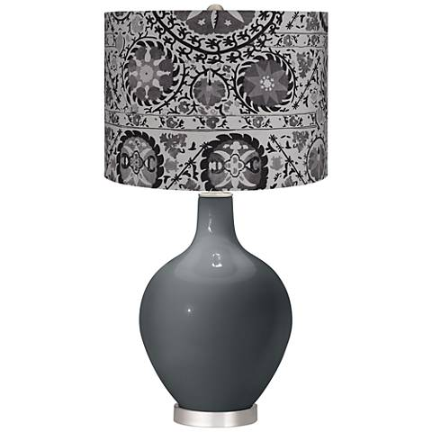 Black of Night Gray Suzani Ovo Table Lamp