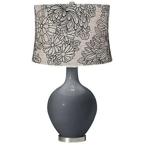 Black of Night Velveteen Chrysanthemum Shade Ovo Table Lamp