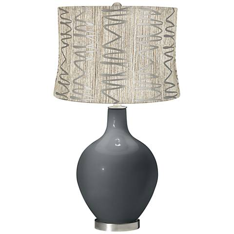 Black of Night Abstract Squiggles Shade Ovo Table Lamp