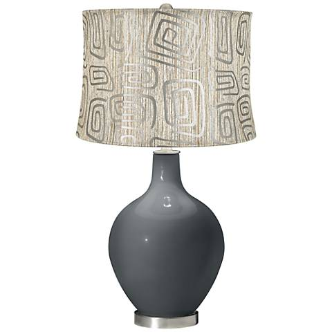 Black of Night Spiral Squiggles Shade Ovo Table Lamp