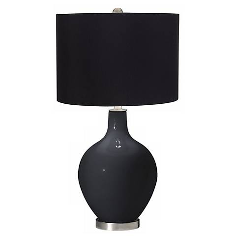 Black of Night Black Shade Ovo Table Lamp