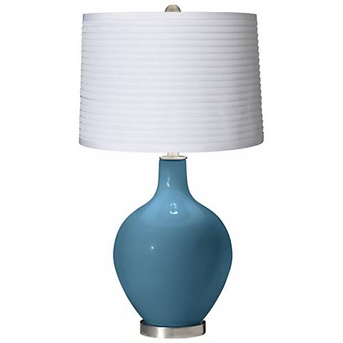 Great Falls White Pleated Shade Ovo Table Lamp