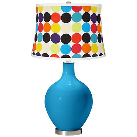 River Blue Multi Mod Circles Shade Ovo Table Lamp