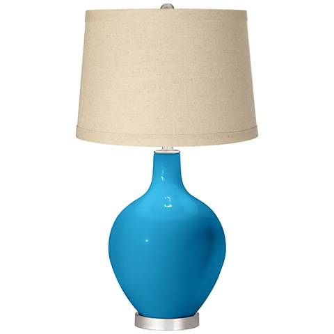 River Blue Oatmeal Linen Shade Ovo Table Lamp
