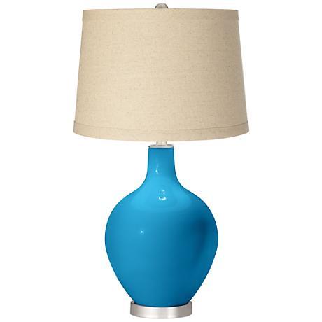 River Blue Oatmeal Linen Shade Ovo Table Lamp