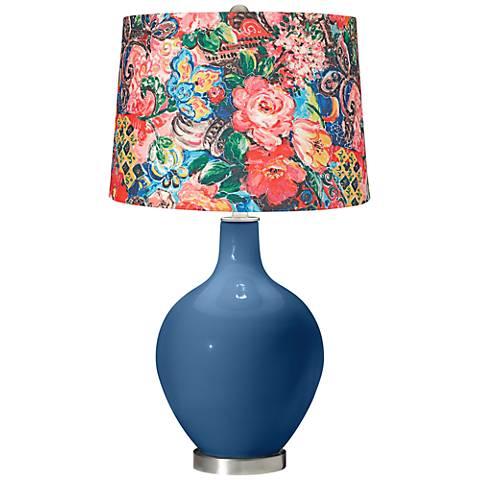 Regatta Blue Floral Digital Print Shade Ovo Table Lamp